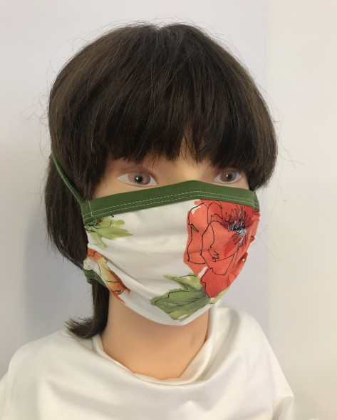 F- Maske rote Blume -oliv